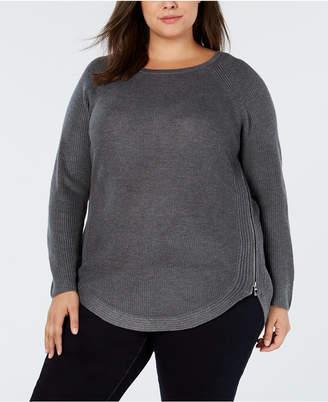 INC International Concepts I.n.c. Plus Size Waffle-Knit Side-Zip Sweater