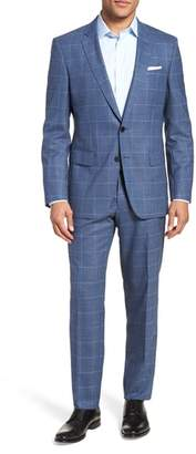 BOSS Huge/Genius Trim Fit Windowpane Wool Suit