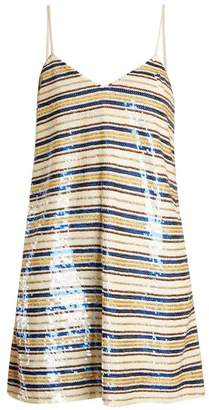 Ashish Striped sequin-embellished mini dress