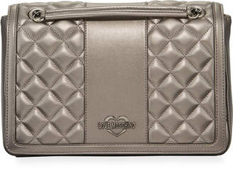 Love Moschino Borsa Quilted Faux-Leather Shoulder Bag, Silver