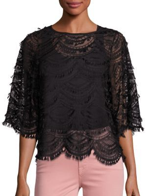 7 For All Mankind7 For All Mankind Fringe Trim Lace Top