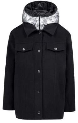 HUGO Boss Wool-blend jacket detachable metallic down-filled gilet XS Black