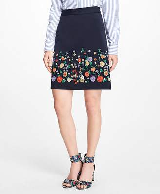 Floral Embroidered Stretch-Twill Skirt $98 thestylecure.com