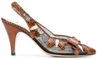 Gucci butterflies mid-heel slingback pumps