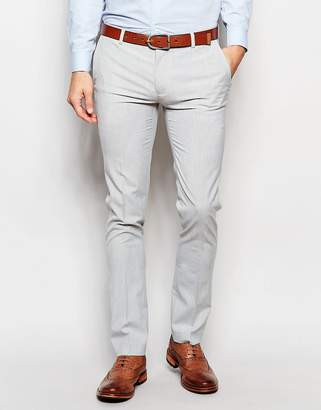Asos Super Skinny Smart Trousers In Pale Grey