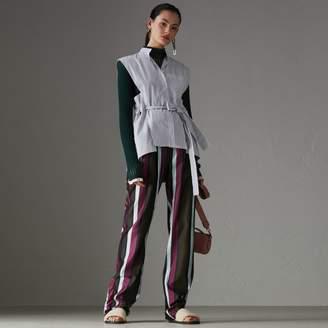 Burberry Striped Cotton Sleeveless Shirt , Size: 08