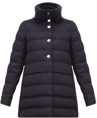 Herno High Neck Down Filled Silk Blend Coat - Womens - Navy