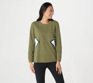 Denim & Co. Active French Terry Long-Sleeve Color-Block Top