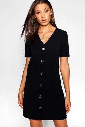 boohoo Tall Button Front T-shirt Dress