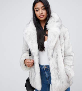Asos DESIGN Petite glam oversized white faux fur