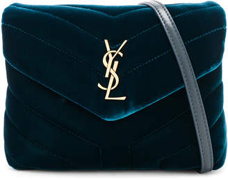 Saint Laurent Toy Velvet & Leather Monogramme Loulou Strap Bag