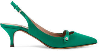 Tabitha Simmons Layton Crystal-embellished Satin Slingback Pumps - Emerald