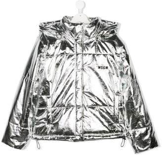 MSGM TEEN logo print puffer jacket
