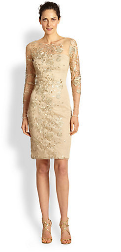 David Meister Embroidered Illusion Cocktail Dress