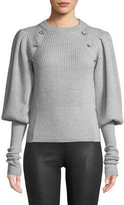 Veronica Beard Jude Jeweled Crewneck Blouson-Sleeve Wool Knit Sweater