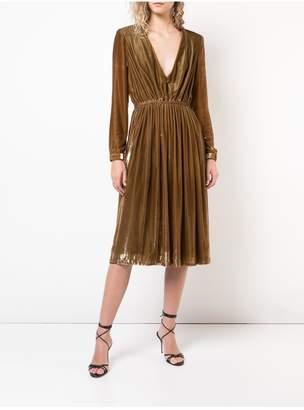 ADAM by Adam Lippes Liquid Velvet Deep V-Neck Short Dress