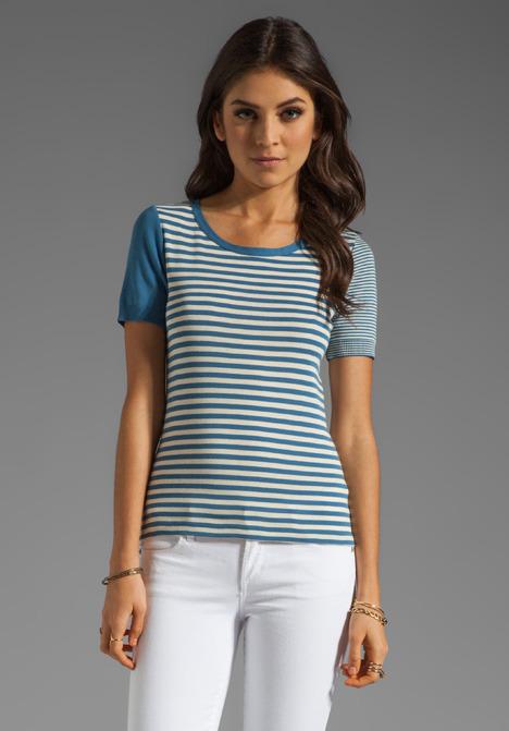 Sonia Rykiel SONIA by Short Sleeve Stripe Top in Lily/Denim