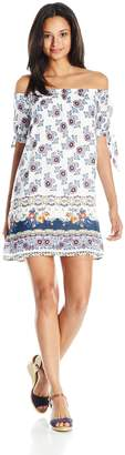 My Michelle Women's Off the Shoulder Printed Dress with Side Sleeve Ties