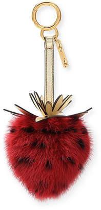 Fendi Mink Fur Strawberry Charm For Handbag