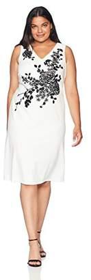 Calvin Klein Women's Plus Size Beaded Sleeveless Sheath Dress