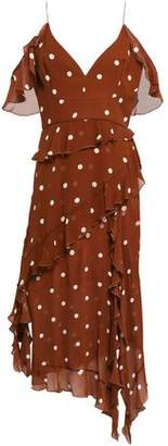 Nicholas Cold-shoulder Ruffled Polka-dot Silk-chiffon Midi Dress