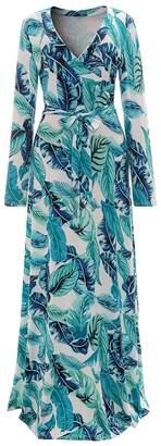 Aecibzo Women's Long Sleeve V-Neck Floral Printed Faux Wrap Long Maxi Dress (L, )