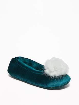 Old Navy Velvet Faux-Fur Pom-Pom Slippers for Women