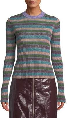 McQ Metallic Striped Ribbed Sweater