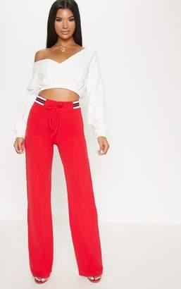 PrettyLittleThing Red Sport Waist Drawstring Trouser