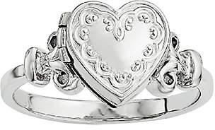 QVC Sterling Polished Scroll Locket Ring