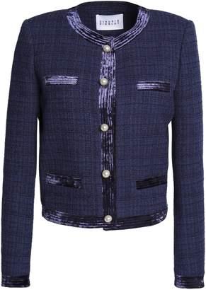 Claudie Pierlot Velvet-trimmed Tweed Jacket