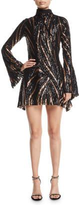 Halpern Turtleneck Bell-Sleeve A-Line Sequin-Stripe Cocktail Dress