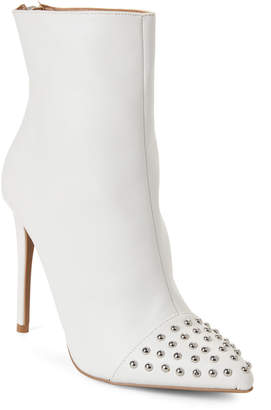Wild Diva Lounge White Giselle Studded Pointed Toe Booties