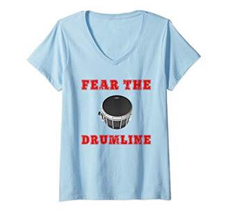 Womens Fear The Drumline Drummer Band Camp Marching Band Funny V-Neck T-Shirt