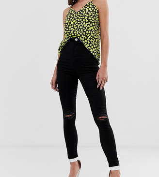 Asos Tall DESIGN Tall Rivington high waisted jeggings with frayed knee rip detail