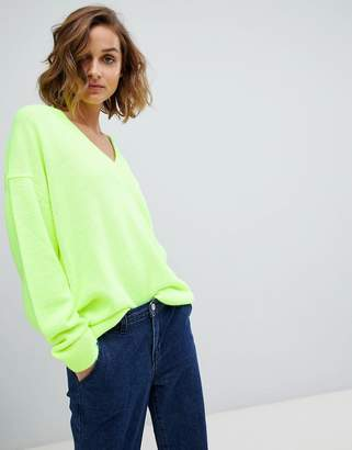 Asos DESIGN oversized fluro v neck sweater