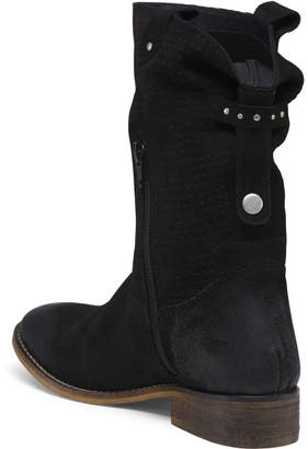 Suede Perforated Slouch Boots