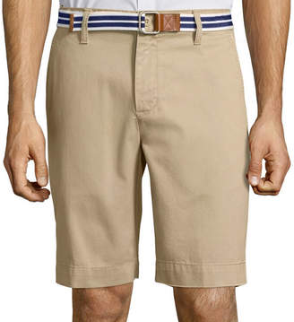 U.S. Polo Assn. USPA Belted Twill Flat-Front Shorts