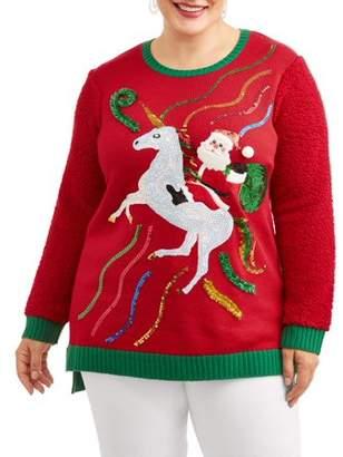 Holiday Time Women's Plus Santa Riding Unicorn Christmas Sweater