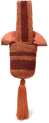 Johanna Ortiz Tasseled Striped Woven Straw Tote - Copper