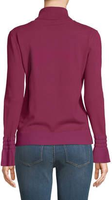 Neiman Marcus Flare-Sleeve Ribbed Turtleneck Sweater