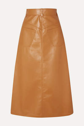 A.W.A.K.E. Mode Faux Leather Midi Skirt - Camel