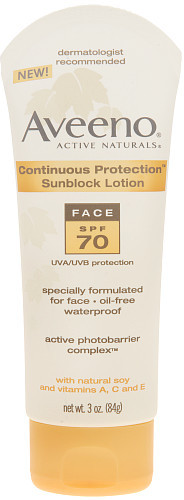 Johnson & Johnson Aveeno Continuous Protection Sunblock Face Lotion (SPF 70) - 3 Oz
