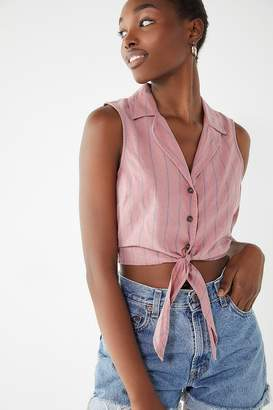 Urban Outfitters Tie-Front Sleeveless Button-Down Cropped Top