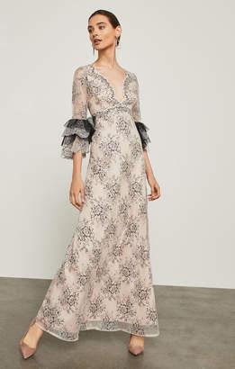 BCBGMAXAZRIA Cascading Floral Lace Maxi Dress