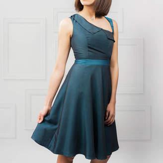 LAGOM Lydia 1950s Style Dress Teal Blue