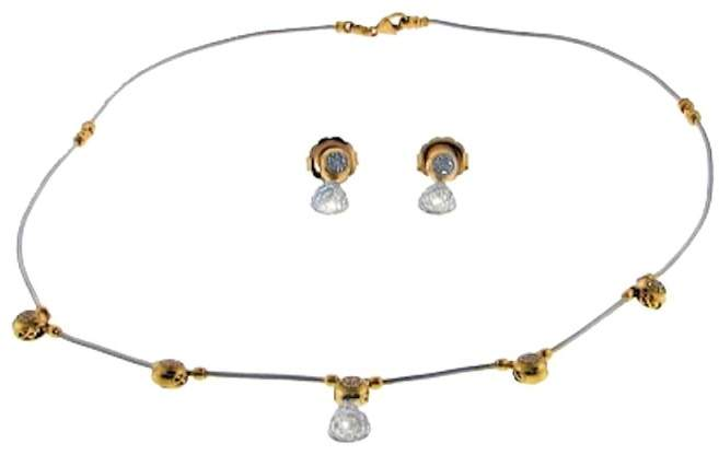 CharriolCharriol 18K Yellow Gold 2/3 Ct Diamond Cable Necklace and Earring Set