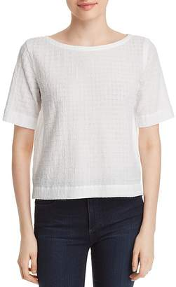 Eileen Fisher Boatneck Grid-Knit Top
