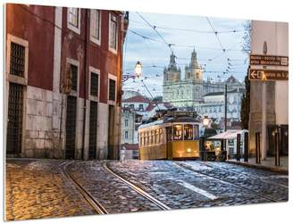 Art.com Romantic Atmosphere in Old Streets of Alfama with Castle in Background and Tram Number 28 Metal Print By Roberto Moiola - 41x61 cm