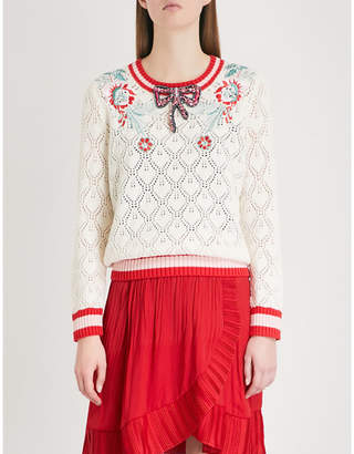 Maje Marquise embellished pointelle-knit cotton and wool-blend jumper